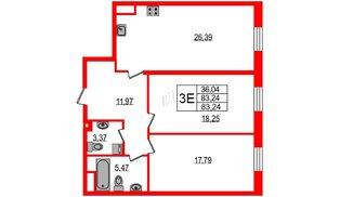 Квартира в ЖК YE'S, 2 комнатная, 86.1 м², 2 этаж