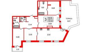 Квартира в ЖК YE'S, 3 комнатная, 130.52 м², 7 этаж
