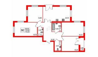 Квартира в ЖК Цивилизация на Неве, 4 комнатная, 118.2 м², 3 этаж