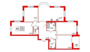 Квартира в ЖК Цивилизация на Неве, 4 комнатная, 121.1 м², 11 этаж