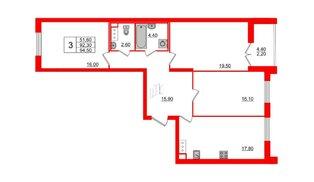 Квартира в ЖК Цивилизация на Неве, 3 комнатная, 94.5 м², 6 этаж