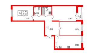 Квартира в ЖК Цивилизация на Неве, 3 комнатная, 93.6 м², 14 этаж