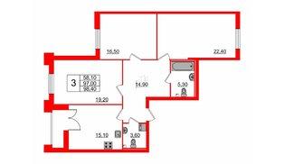 Квартира в ЖК Цивилизация на Неве, 3 комнатная, 98.4 м², 2 этаж