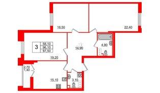Квартира в ЖК Цивилизация на Неве, 3 комнатная, 97.5 м², 3 этаж