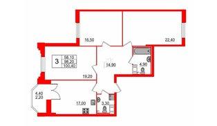 Квартира в ЖК Цивилизация на Неве, 3 комнатная, 100.4 м², 6 этаж