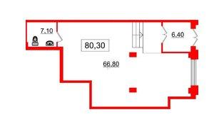 Помещение в ЖК Victory plaza, 80.3 м², 1 этаж