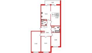 Квартира в ЖК Философия на Московской, 4 комнатная, 106.9 м², 10 этаж