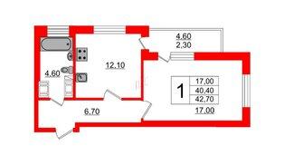 Квартира в ЖК Невские паруса, 1 комнатная, 41 м², 6 этаж