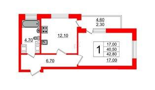 Квартира в ЖК Невские паруса, 1 комнатная, 41.1 м², 20 этаж