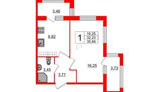 Квартира в ЖК «ARTквартал.Аквилон», 1 комнатная, 35.84 м², 16 этаж