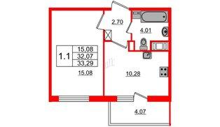 Квартира в ЖК «Чистое небо», 1 комнатная, 32.07 м², 10 этаж