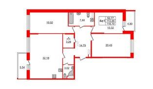 Квартира в ЖК Притяжение, 3 комнатная, 113.48 м², 8 этаж
