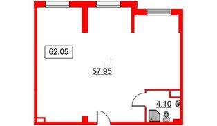 Помещение в ЖК Art Квартал, 62.71 м², 2 этаж