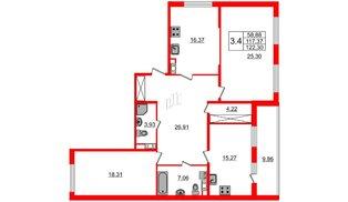Квартира в ЖК Притяжение, 3 комнатная, 115.5 м², 8 этаж