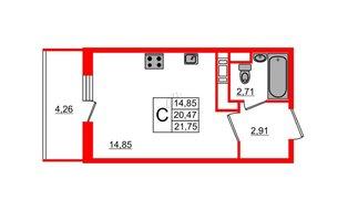 Квартира в ЖК All inclusive, студия, 21.75 м², 10 этаж