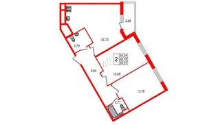 Квартира в ЖК All inclusive, 2 комнатная, 69.96 м², 1 этаж