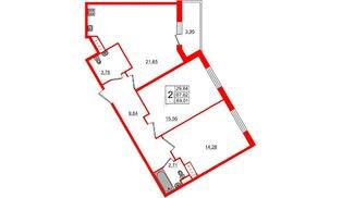 Квартира в ЖК All inclusive, 2 комнатная, 69.01 м², 2 этаж