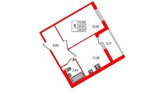 Квартира в ЖК All inclusive, 1 комнатная, 36.67 м², 1 этаж