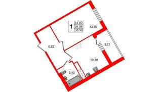 Квартира в ЖК All inclusive, 1 комнатная, 35.9 м², 10 этаж