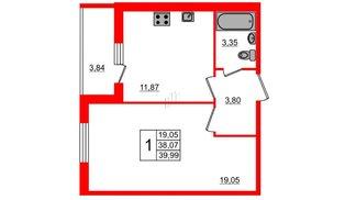 Квартира в ЖК All inclusive, 1 комнатная, 40.05 м², 1 этаж
