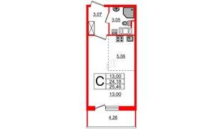 Квартира в ЖК ПАЛАЦИО, студия, 24.18 м², 4 этаж