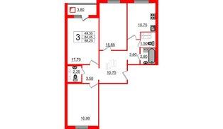 Квартира в ЖК Новое Горелово, 3 комнатная, 87.4 м², 2 этаж