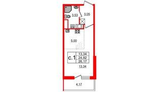 Квартира в ЖК «Чистое небо», студия, 24.92 м², 4 этаж