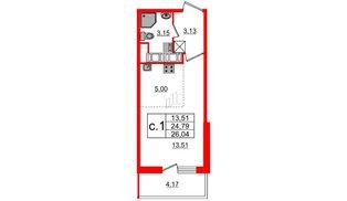 Квартира в ЖК «Чистое небо», студия, 24.79 м², 12 этаж