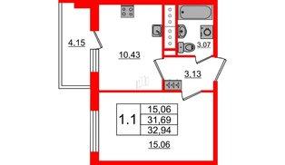 Квартира в ЖК «Чистое небо», 1 комнатная, 31.69 м², 12 этаж