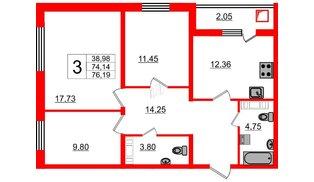 Квартира в ЖК Новое Горелово, 3 комнатная, 76.19 м², 1 этаж