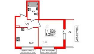 Квартира в ЖК Невские паруса, 1 комнатная, 38.5 м², 2 этаж
