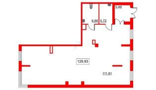 Помещение в ЖК Галактика, 130.7 м², 2 этаж