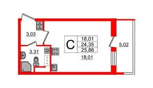Квартира в ЖК «Солнечный город», студия, 24.3 м², 2 этаж