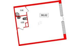 Помещение в ЖК Yes, 98.62 м², 1 этаж
