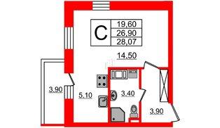 Квартира в ЖК Невские паруса, студия, 26.9 м², 10 этаж
