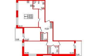 Квартира в ЖК Притяжение, 3 комнатная, 106.9 м², 6 этаж