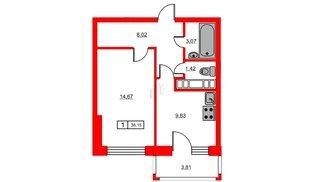 Квартира в ЖК Новое Горелово, 1 комнатная, 38.15 м², 2 этаж