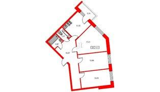 Квартира в ЖК «Новое Горелово», 3 комнатная, 76.77 м², 13 этаж