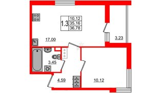 Квартира в ЖК «Солнечный город», 1 комнатная, 35.16 м², 8 этаж