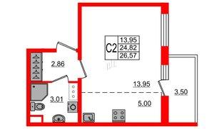 Квартира в ЖК «Солнечный город», студия, 24.82 м², 12 этаж