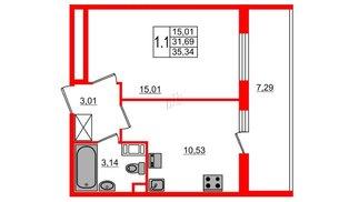 Квартира в ЖК «Солнечный город», 1 комнатная, 31.69 м², 11 этаж