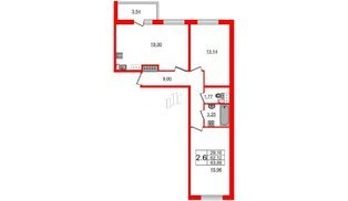 Квартира в ЖК «Солнечный город», 2 комнатная, 62.12 м², 4 этаж