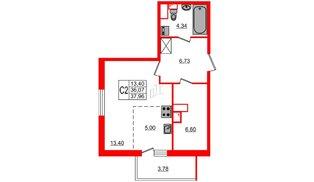 Квартира в ЖК «Солнечный город», студия, 36.07 м², 1 этаж