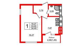 Квартира в ЖК Олимпия-14, 1 комнатная, 34.49 м², 2 этаж