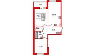 Квартира в ЖК «Солнечный город», 2 комнатная, 55.96 м², 3 этаж