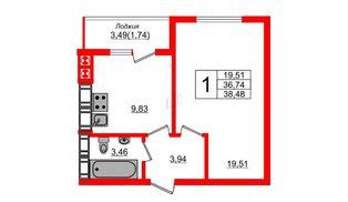 Квартира в ЖК Олимпия-14, 1 комнатная, 38.48 м², 3 этаж