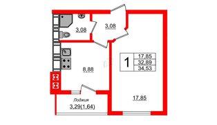 Квартира в ЖК Олимпия-14, 1 комнатная, 34.53 м², 4 этаж