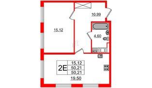 Квартира в ЖК ПАЛАЦИО, 1 комнатная, 50.21 м², 2 этаж
