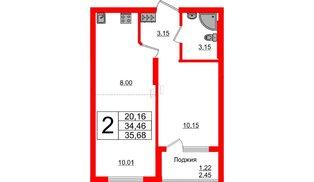Квартира в ЖК Стерео-2, 2 комнатная, 35.68 м², 1 этаж