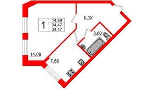 Квартира в ЖК Северный вальс, 1 комнатная, 34.47 м², 1 этаж